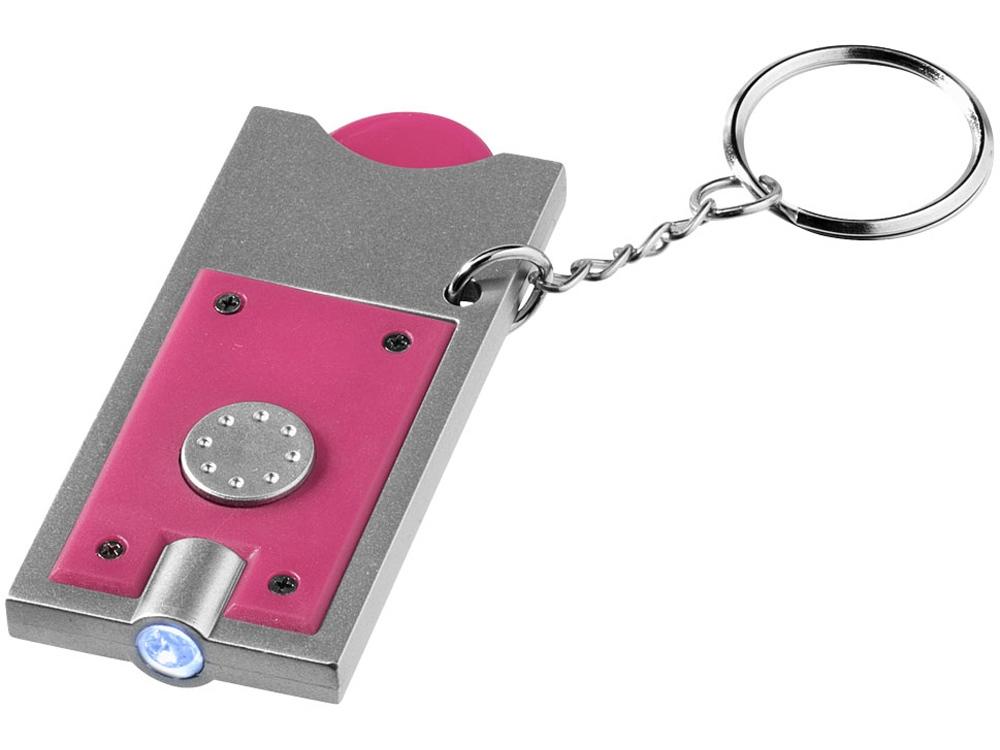 Брелок-держатель для монет Allegro с фонариком, фуксия/серебристый