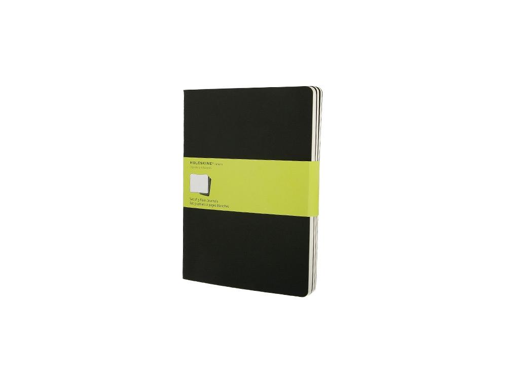 Записная книжка Moleskine Cahier (нелинованный, 3 шт.), ХLarge (19х25см), черный