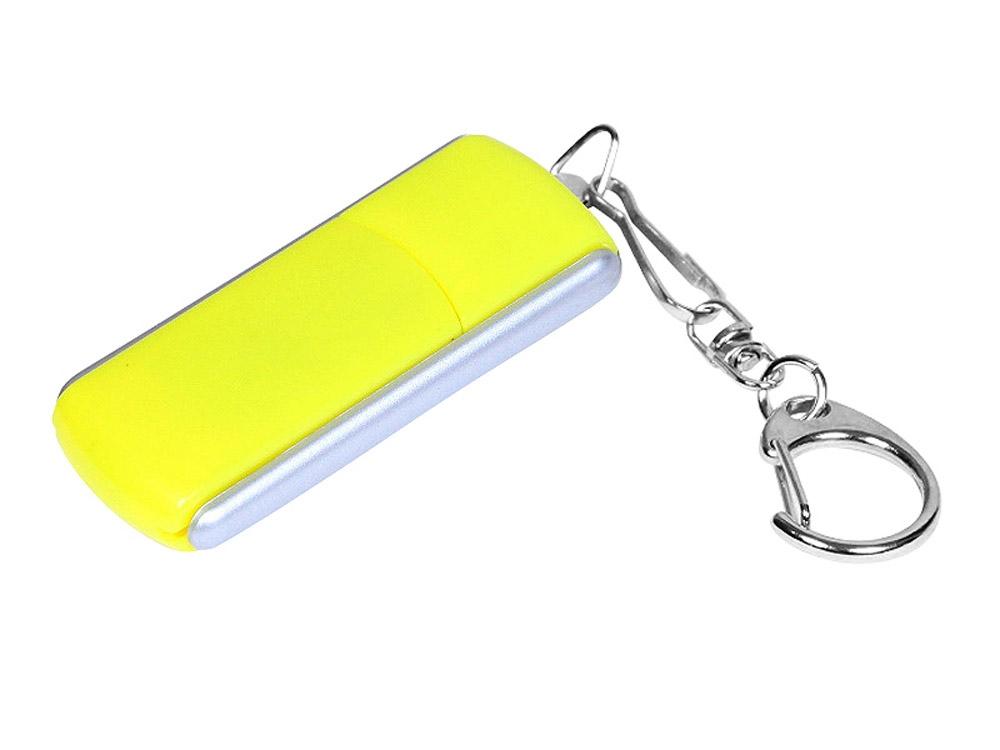 Флешка промо прямоугольной формы, выдвижной механизм, 64 Гб, желтый