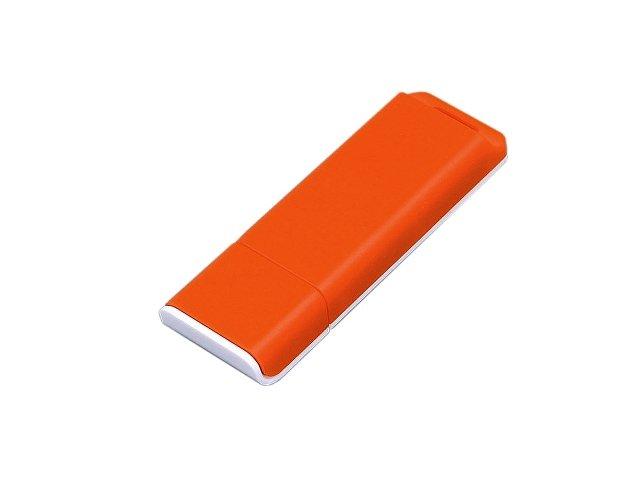 Флешка прямоугольной формы, оригинальный дизайн, двухцветный корпус, 16 Гб, оранжевый/белый