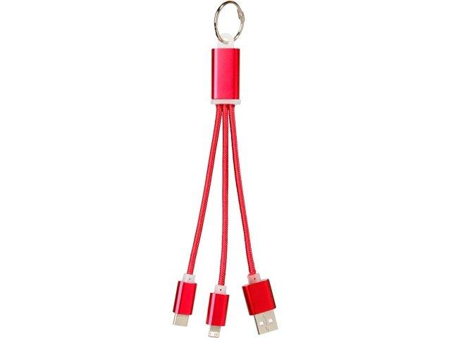 Кабель для зарядки Metal «3-в-1» с брелоком, красный
