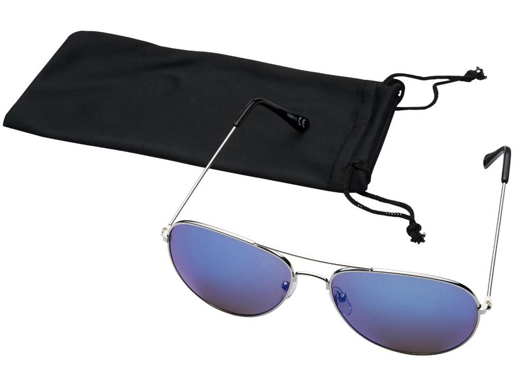 Солнечные очки Aviator с цветными зеркальными линзами, cиний