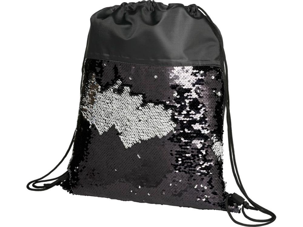 Блестящий рюкзак-мешок Mermaid со шнурком, черный