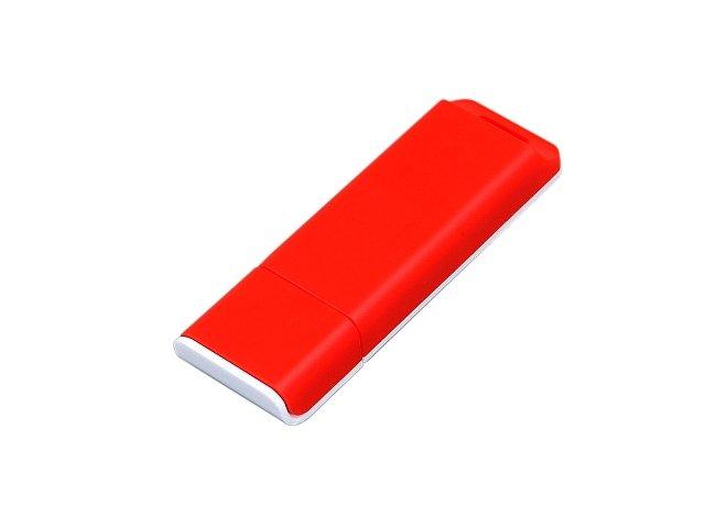 Флешка прямоугольной формы, оригинальный дизайн, двухцветный корпус, 64 Гб, красный/белый