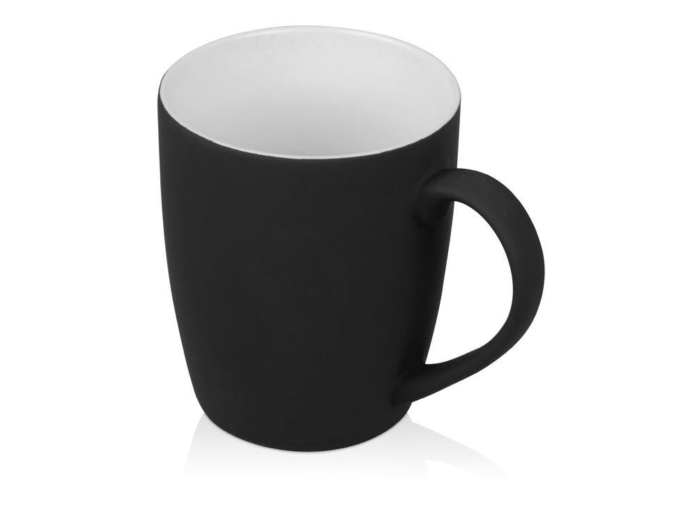 Кружка керамическая с покрытием софт тач черная