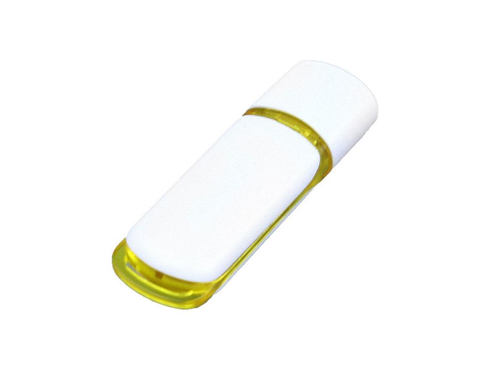 Флешка промо прямоугольной классической формы с цветными вставками, 64 Гб, белый/желтый