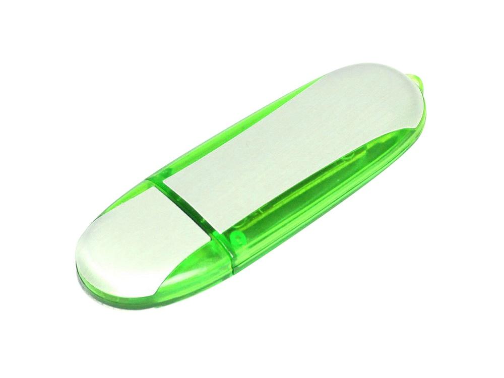 Флешка промо овальной формы, 64 Гб, серебристый/зеленый
