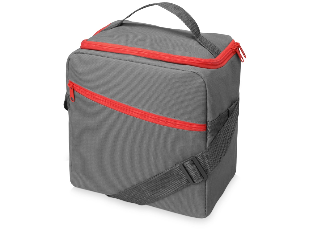 Изотермическая сумка-холодильник Classic c контрастной молнией, серый/красный