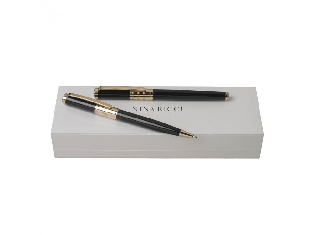 Подарочный набор Eclat: ручка шариковая, ручка роллер. Nina Ricci, черный/золотистый
