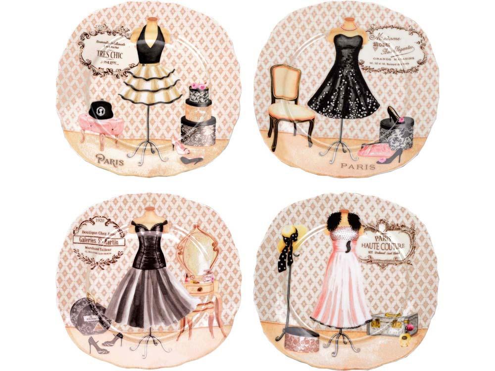 Набор из четырех десертных тарелок Высокая мода