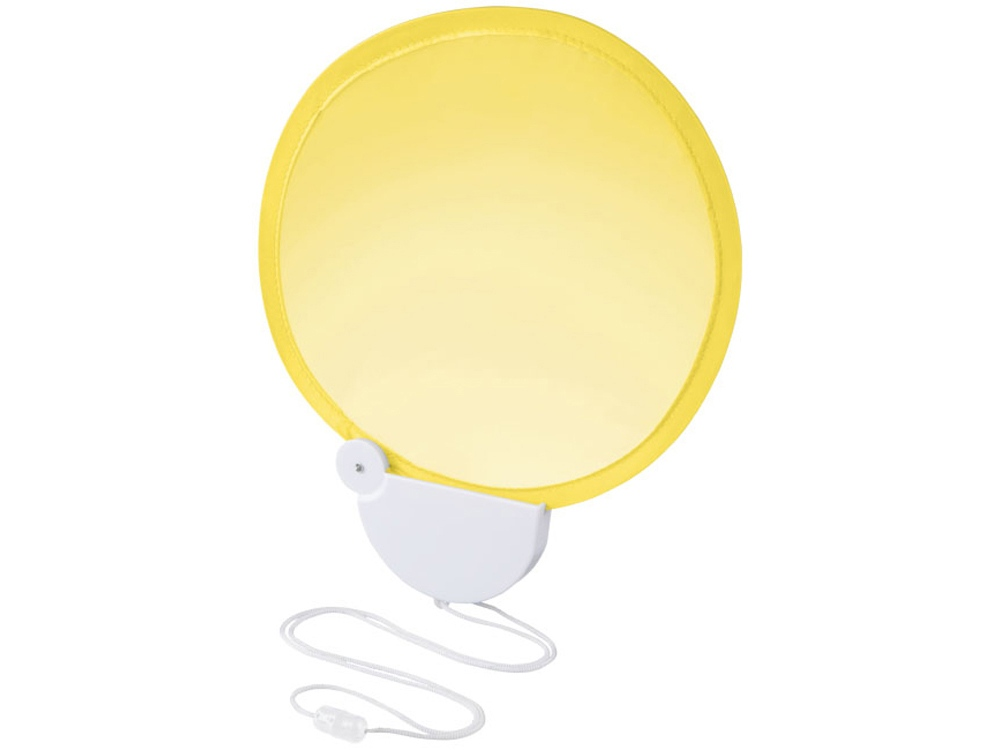 Складной вентилятор (веер) Breeze со шнурком, желтый/белый