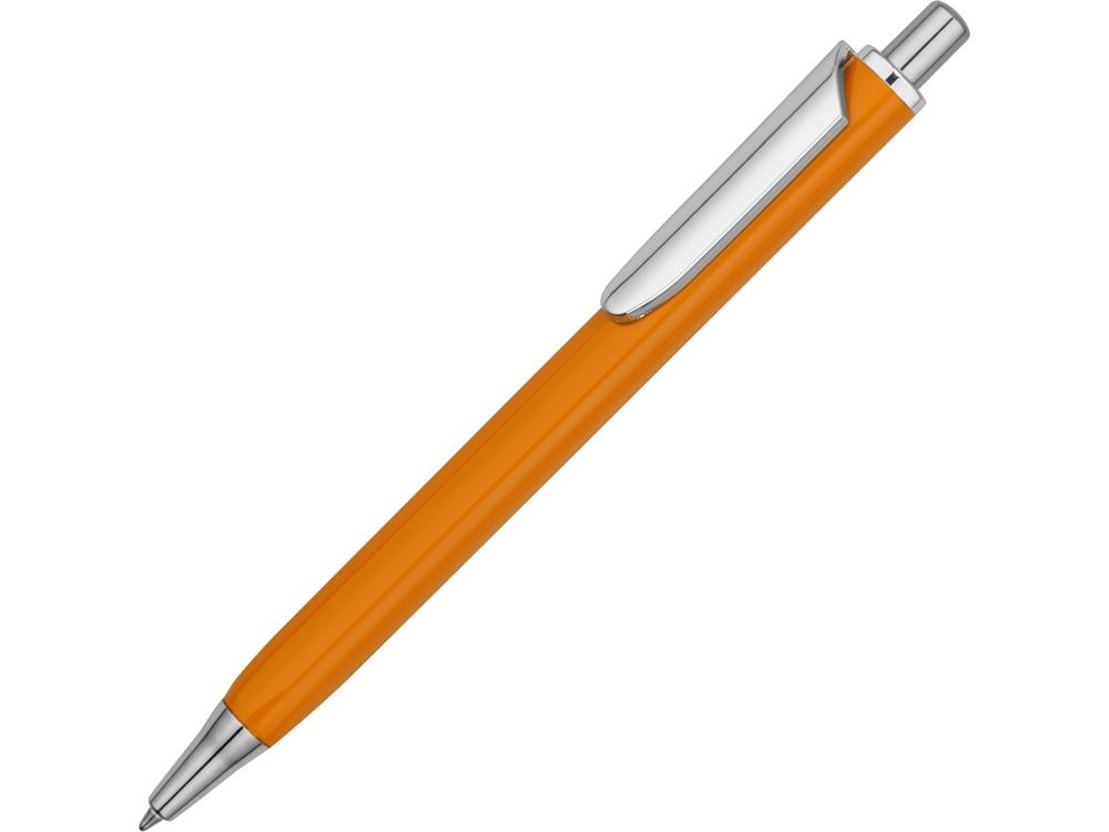 Ручка металлическая шариковая трехгранная Riddle, оранжевый/серебристый