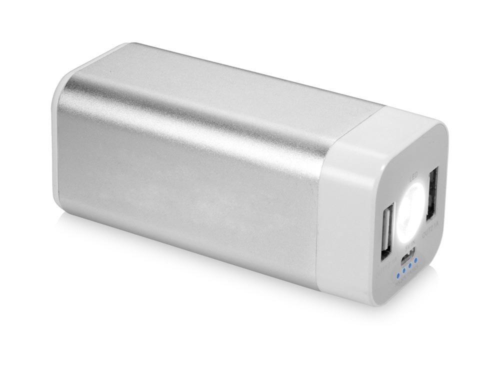 Портативное зарядное устройство Mega Volt, серебристый/белый