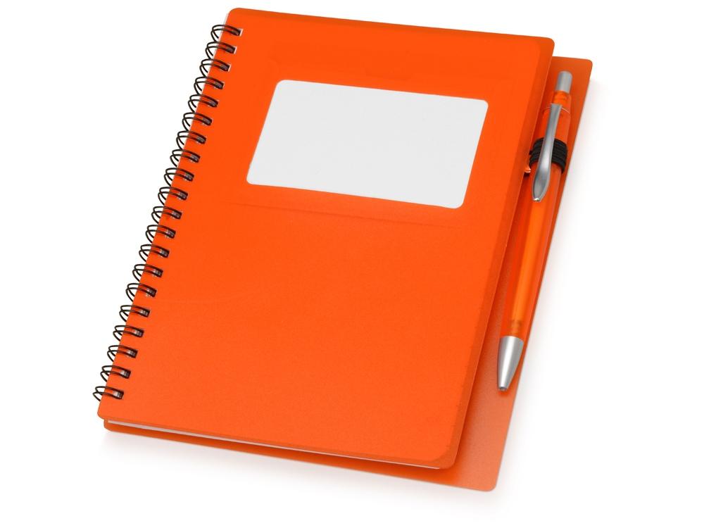 Блокнот Контакт с ручкой, оранжевый