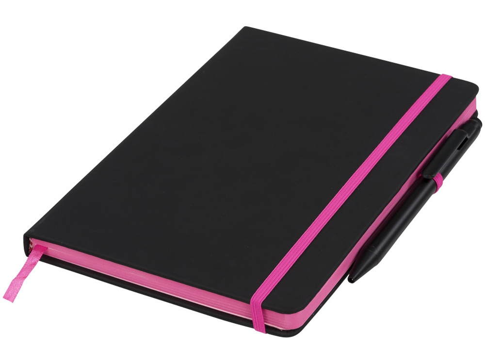 Блокнот Noir Edge среднего размера, черный/розовый