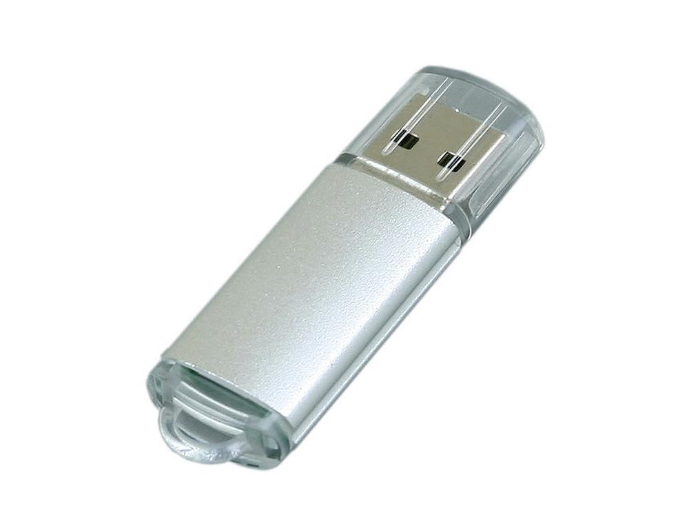 Флешка промо прямоугольной формы  c прозрачным колпачком, 16 Гб, серебристый