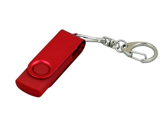 Флешка промо поворотный механизм, с однотонным металлическим клипом, 32 Гб, красный