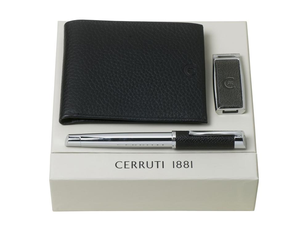 Подарочный набор: портмоне, USB-флешка на 16 Гб, ручка-роллер. Cerruti 1881