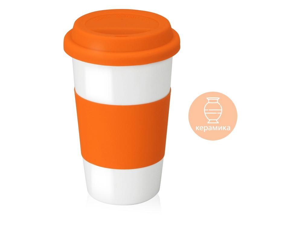 Кружка с силиконовой крышкой Нью-Йорк 300мл, оранжевый