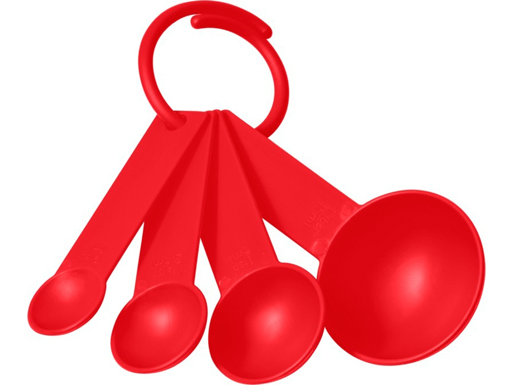 Комплект пластмассовых мерных ложек Ness в 4размерах, красный
