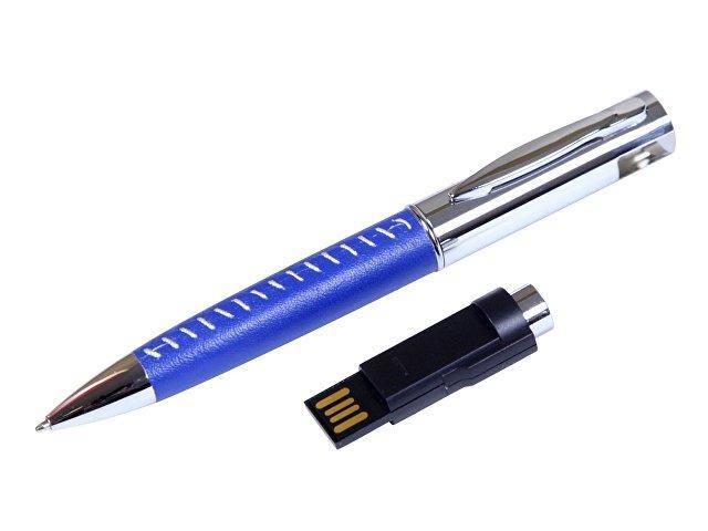 Флешка в виде ручки с мини чипом, 64 Гб, синий/серебристый