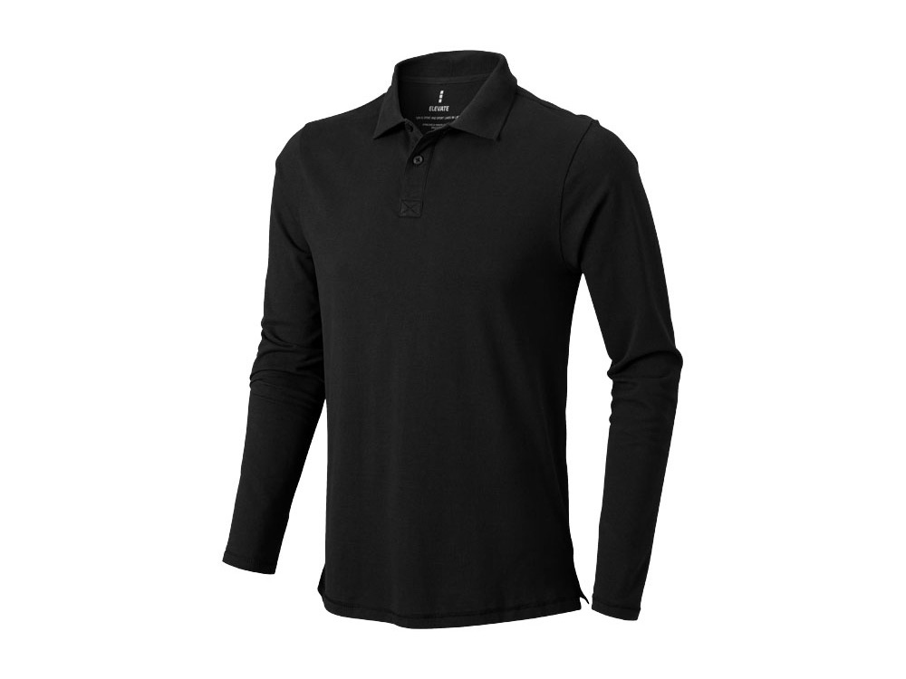Рубашка поло Oakville мужская с длинным рукавом, черный