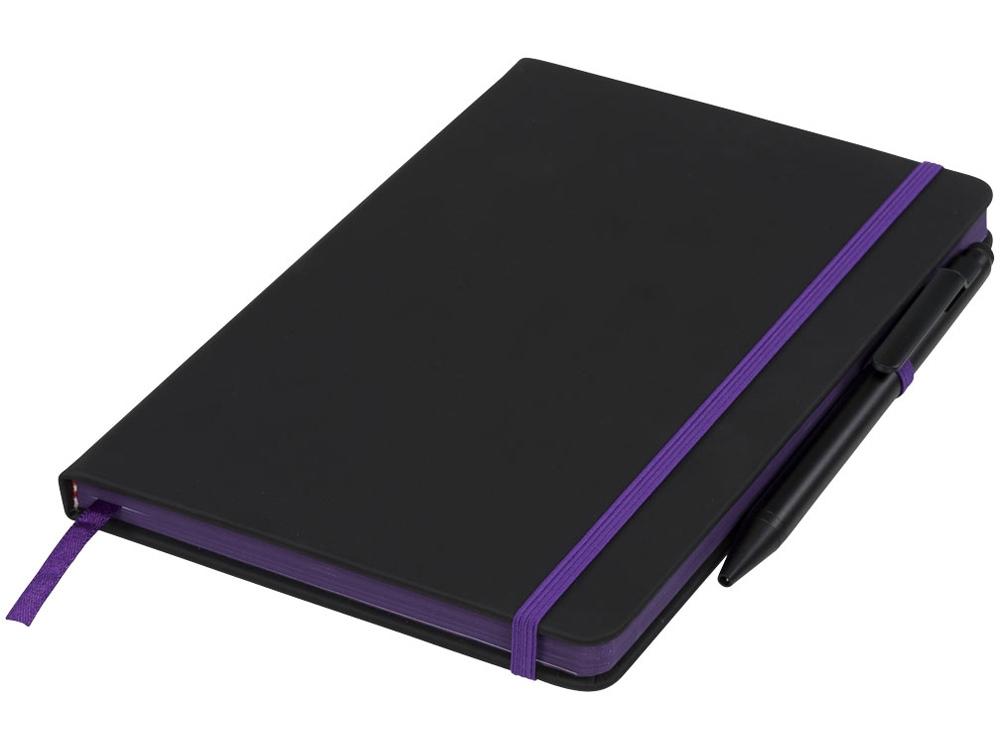 Блокнот Noir Edge среднего размера, черный/пурпурный