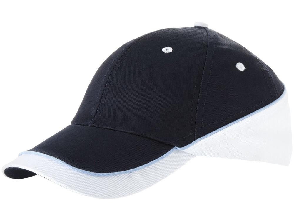Бейсболка Draw 6-ти панельная, темно-синий/белый