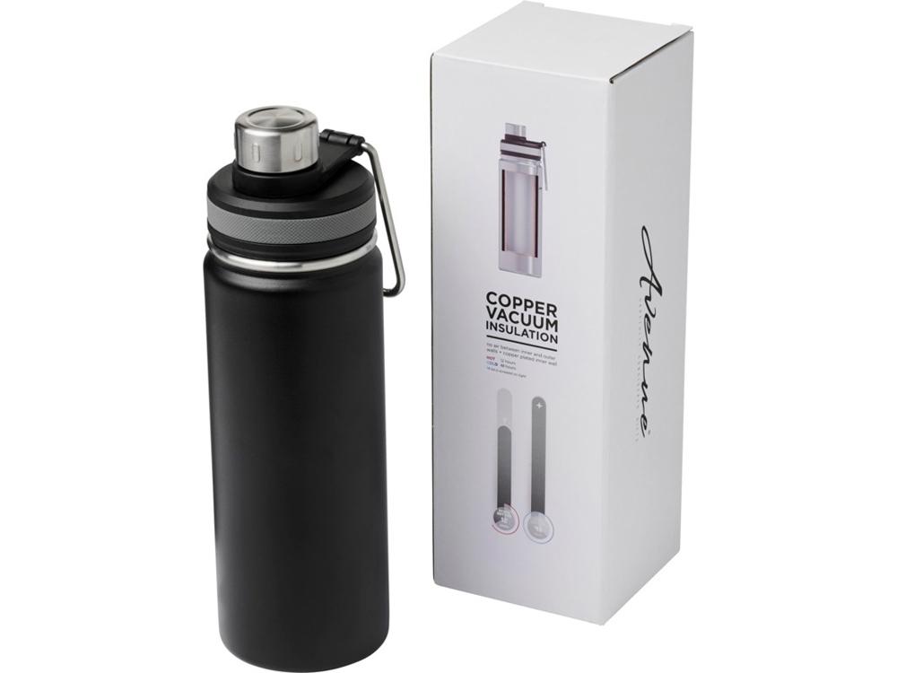 Спортивная бутылка Gessi объемом 590мл с медной вакуумной изоляцией, черный