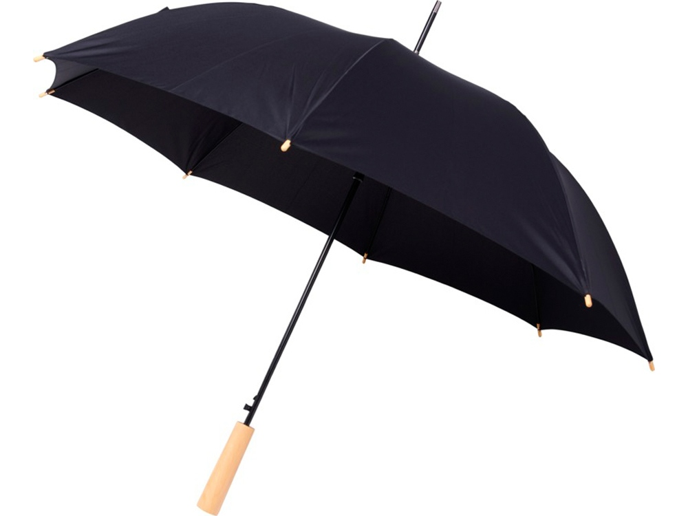 23-дюймовый автоматический зонт Alina из переработанного ПЭТ-пластика, черный