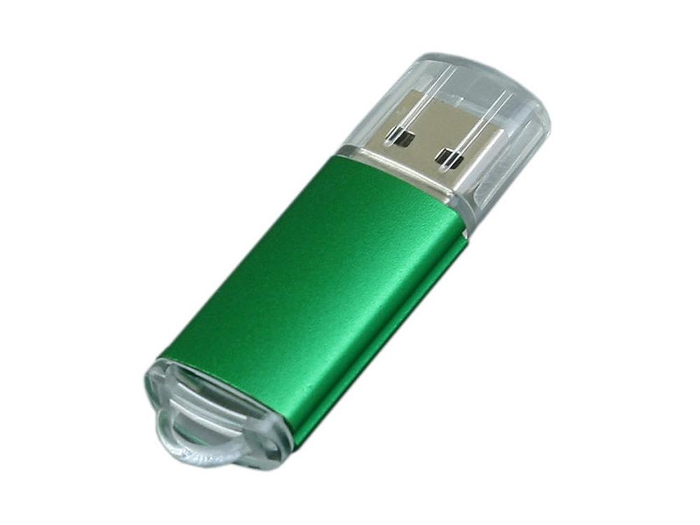 Флешка промо прямоугольной формы  c прозрачным колпачком, 32 Гб, зеленый