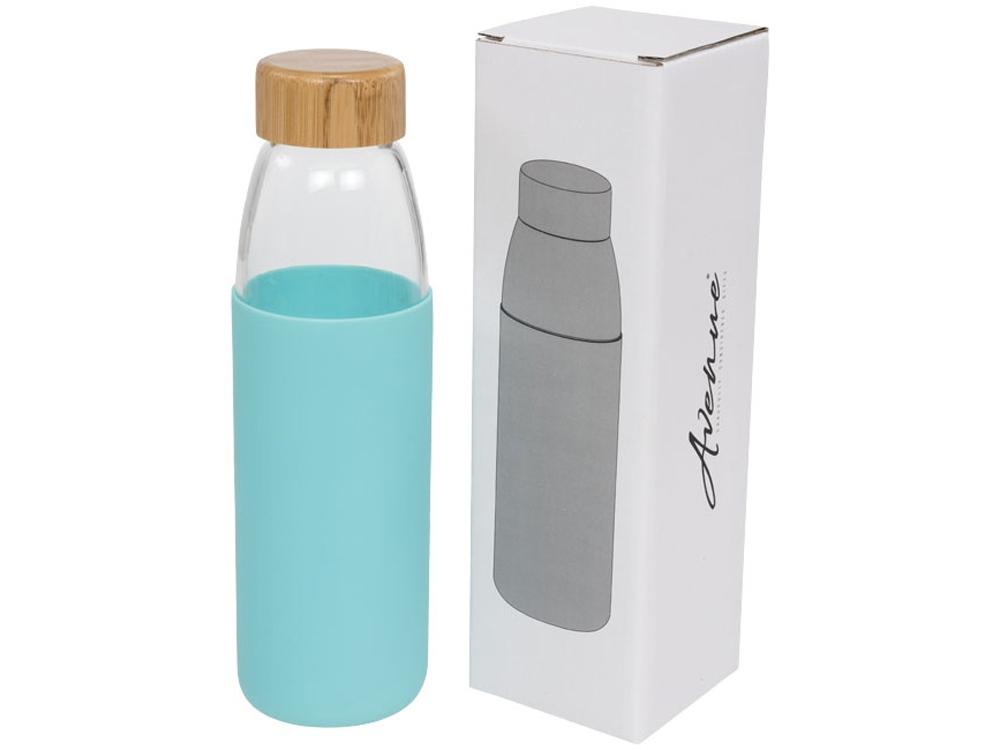 Стеклянная спортивная бутылка Kai с деревянной крышкой и объемом 540 мл,  мятный