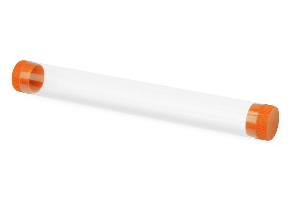 Футляр-туба пластиковый для ручки Tube 2.0, прозрачный/оранжевый