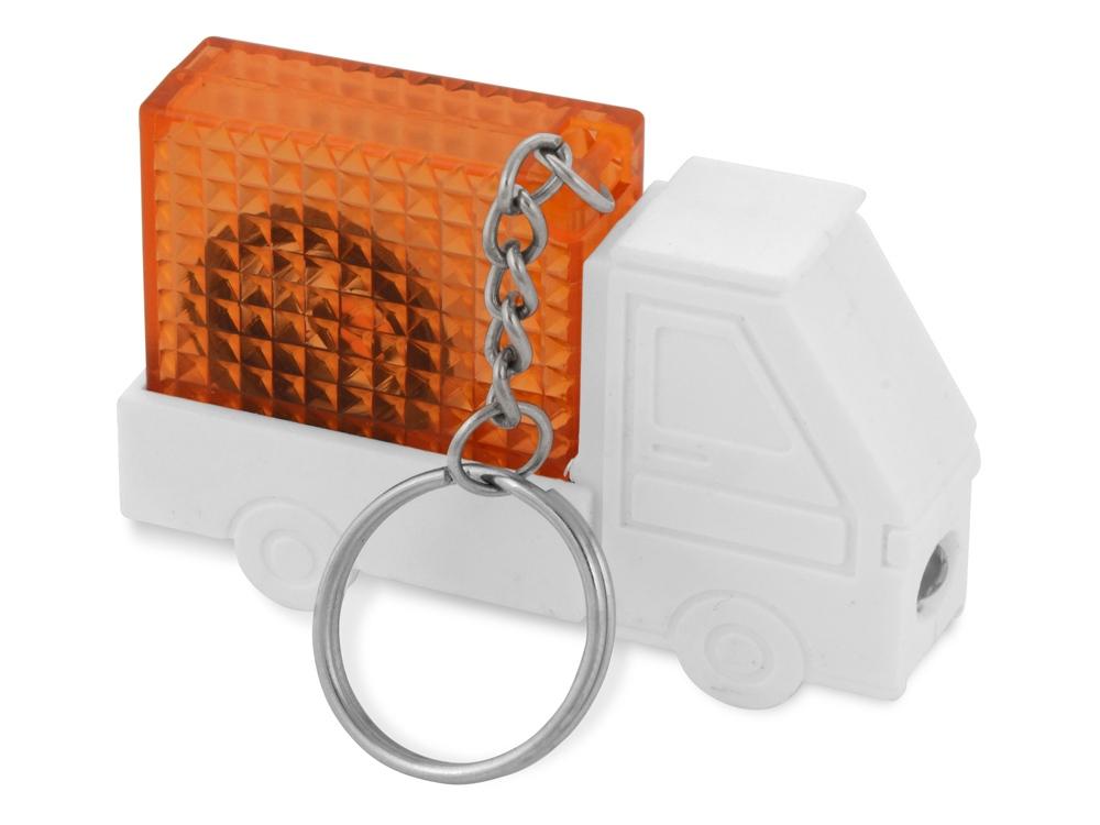 Брелок-рулетка Автомобиль, 1 м., с фонариком, белый/оранжевый