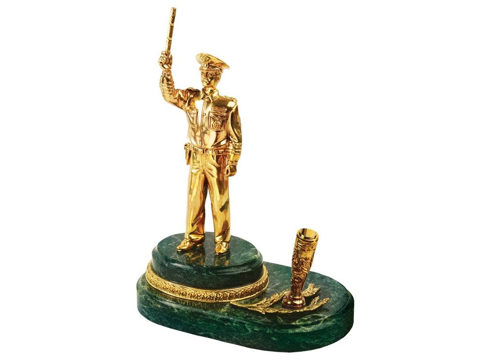 Настольный прибор Инспектор, золотистый/зеленый