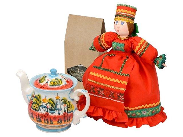 Подарочный набор «Кремлевский»: кукла на чайник, чайник заварной с росписью (арт. 6270)