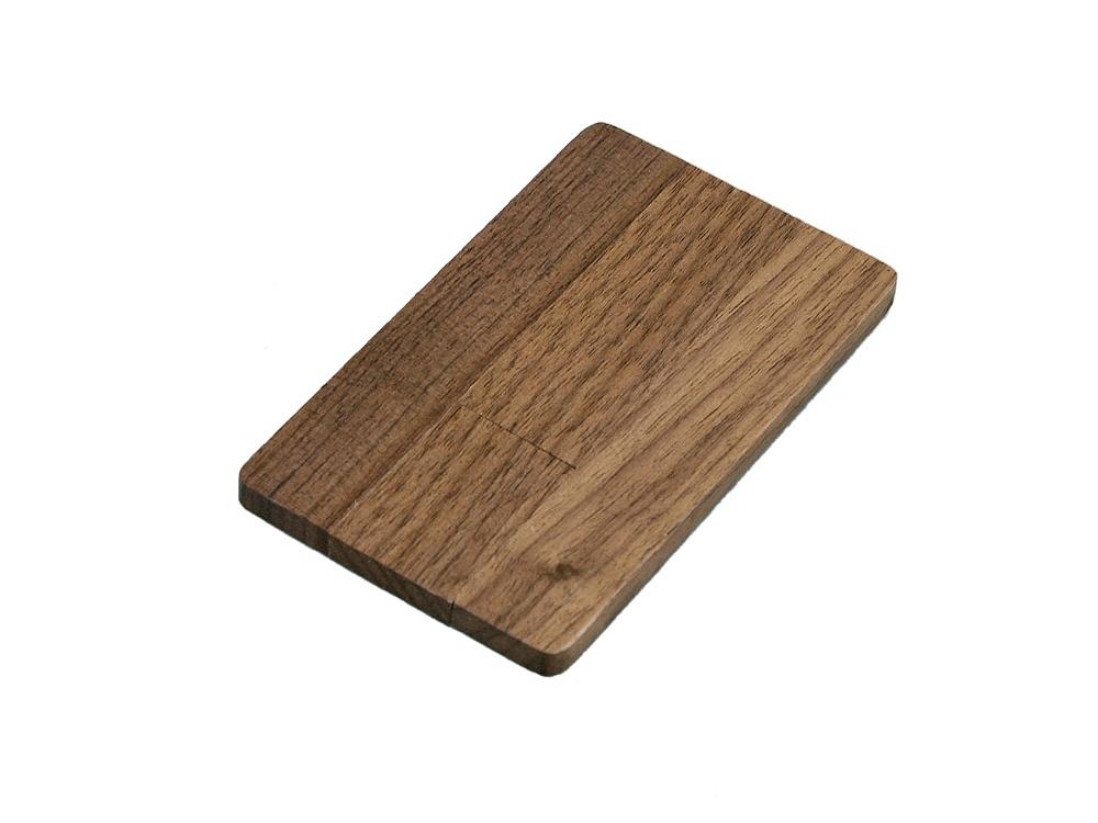 Флешка в виде деревянной карточки с выдвижным механизмом, 64 Гб, коричневый
