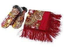 Подарочный набор: Павлопосадский платок, рукавицы (арт. 94729)