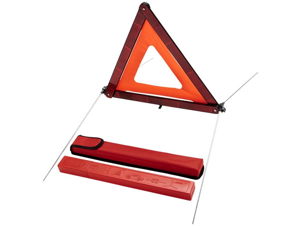 Предупредительный дорожный знак Carl треугольной формы в упаковке для хранения, красный