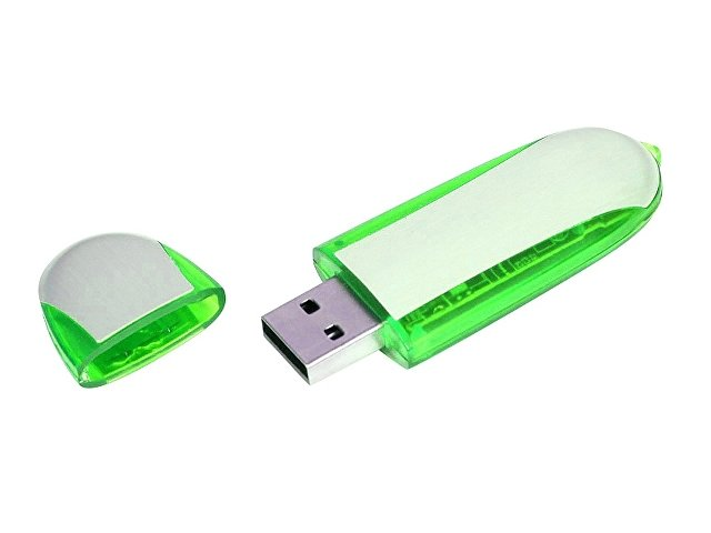 Флешка промо овальной формы, 16 Гб, серебристый/зеленый