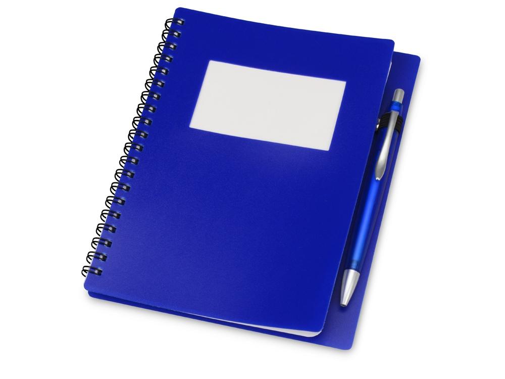 Блокнот Контакт с ручкой, синий