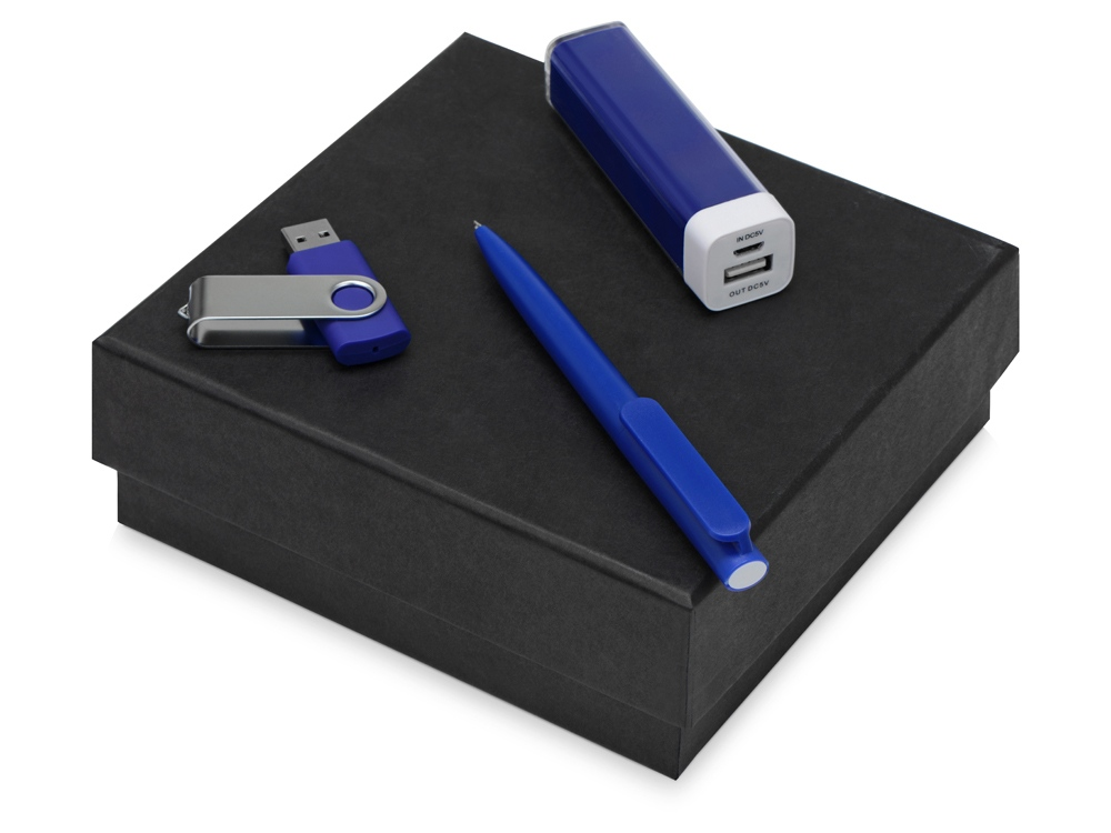 Подарочный набор On-the-go с флешкой, ручкой и зарядным устройством, синий