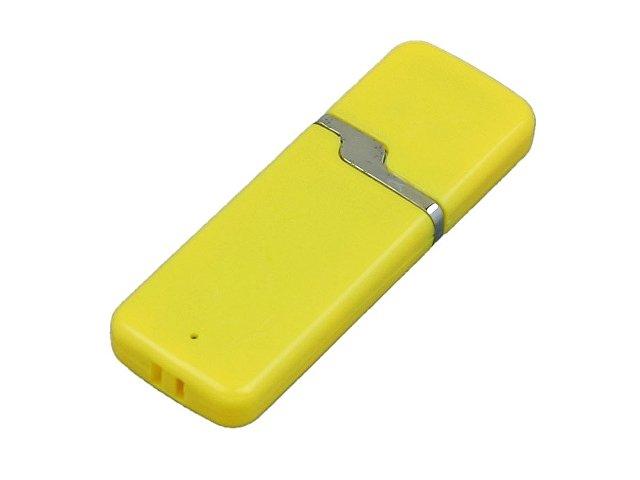 Флешка промо прямоугольной формы c оригинальным колпачком, 16 Гб, желтый