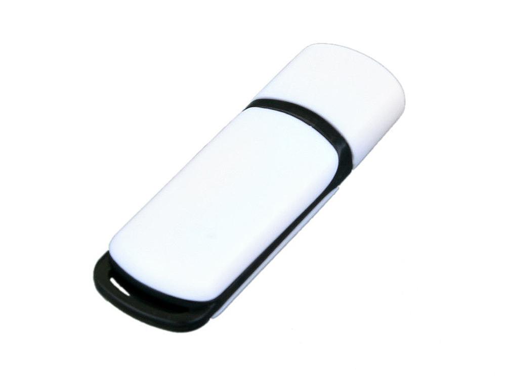 Флешка промо прямоугольной классической формы с цветными вставками, 16 Гб, белый/черный