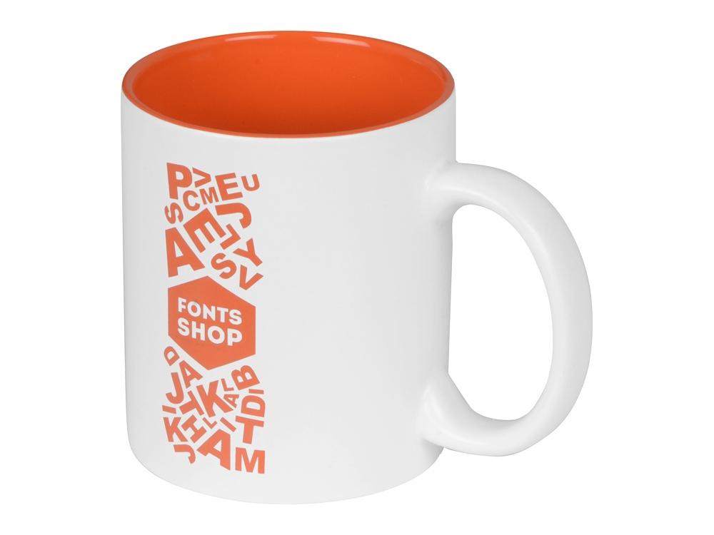 Кружка с покрытием для гравировки Subcolor W, белый/оранжевый