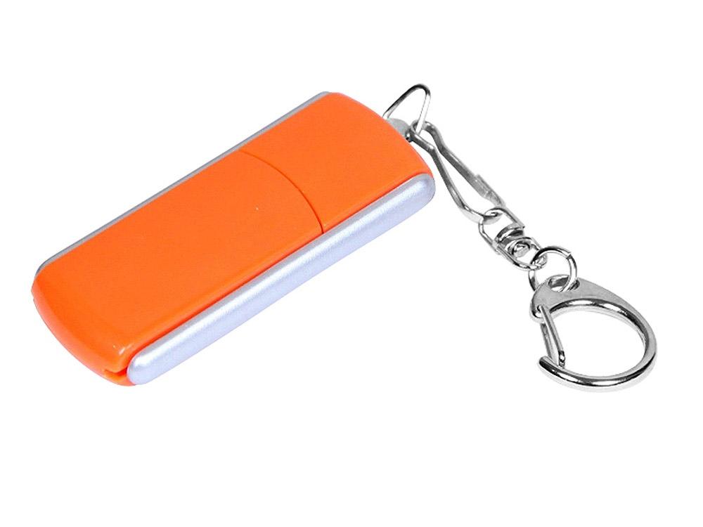 Флешка промо прямоугольной формы, выдвижной механизм, 64 Гб, оранжевый