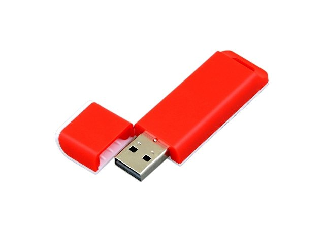 Флешка прямоугольной формы, оригинальный дизайн, двухцветный корпус, 32 Гб, красный/белый