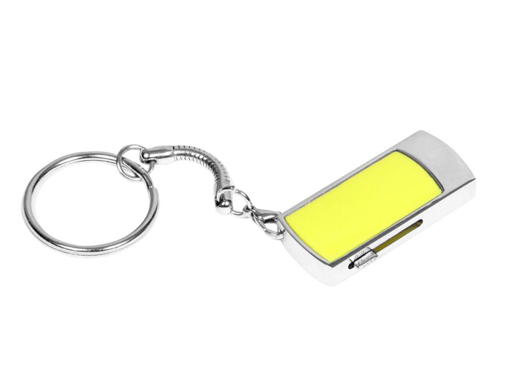 Флешка прямоугольной формы, выдвижной механизм с мини чипом, 32 Гб, желтый/серебристый