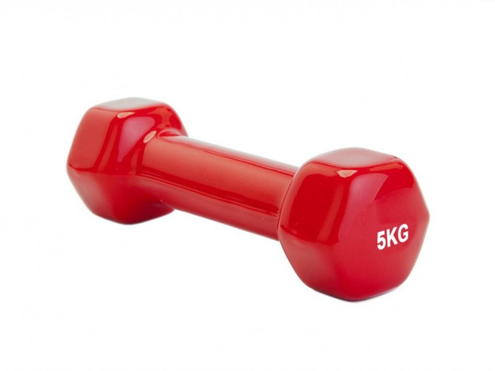 Гантель обрезиненная HULK, 5 кг, красный