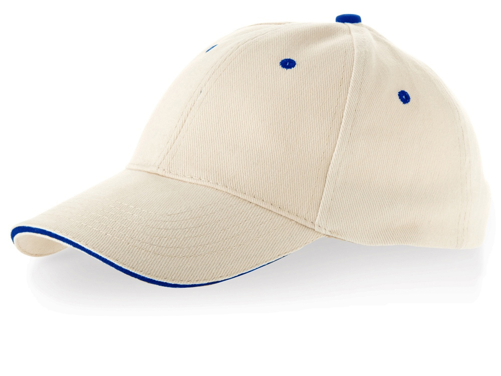 Бейсболка New Castle 6-ти панельная, натуральный/темно-синий